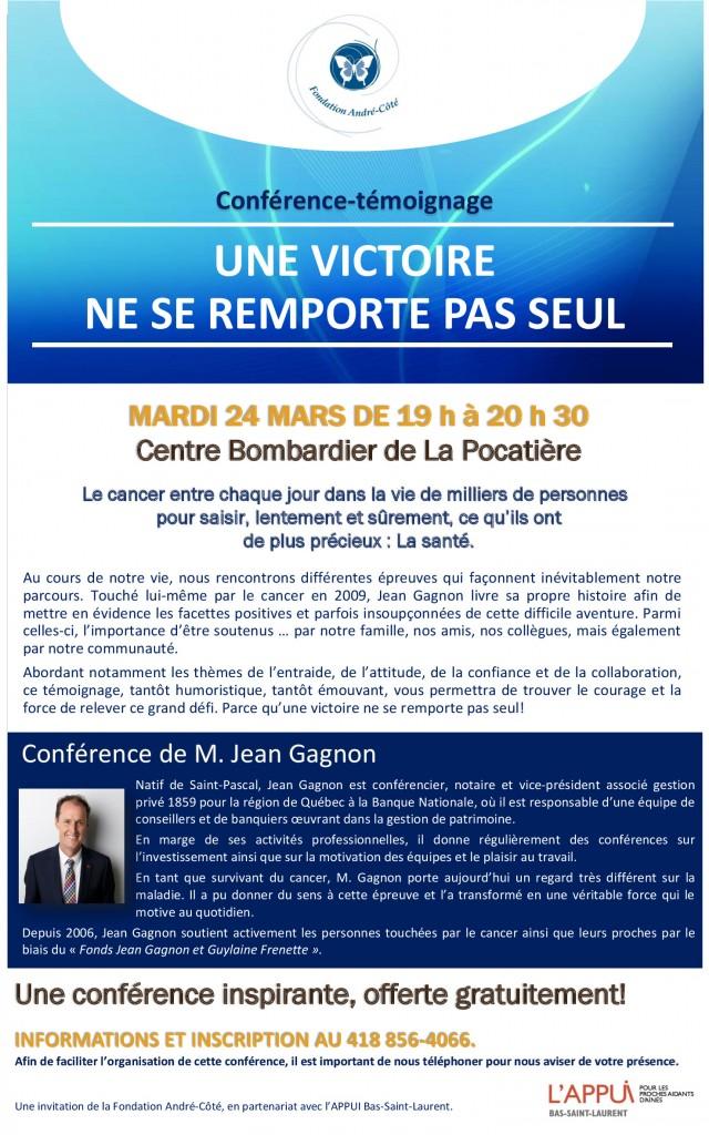 Affiche conférence Jean Gagnon